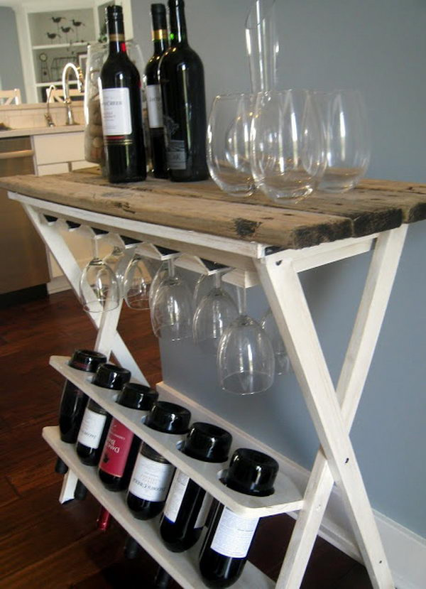Wood Table Wine Dock Idea. Really fun to create and have an aesthetic appeal that applies to your unique home.