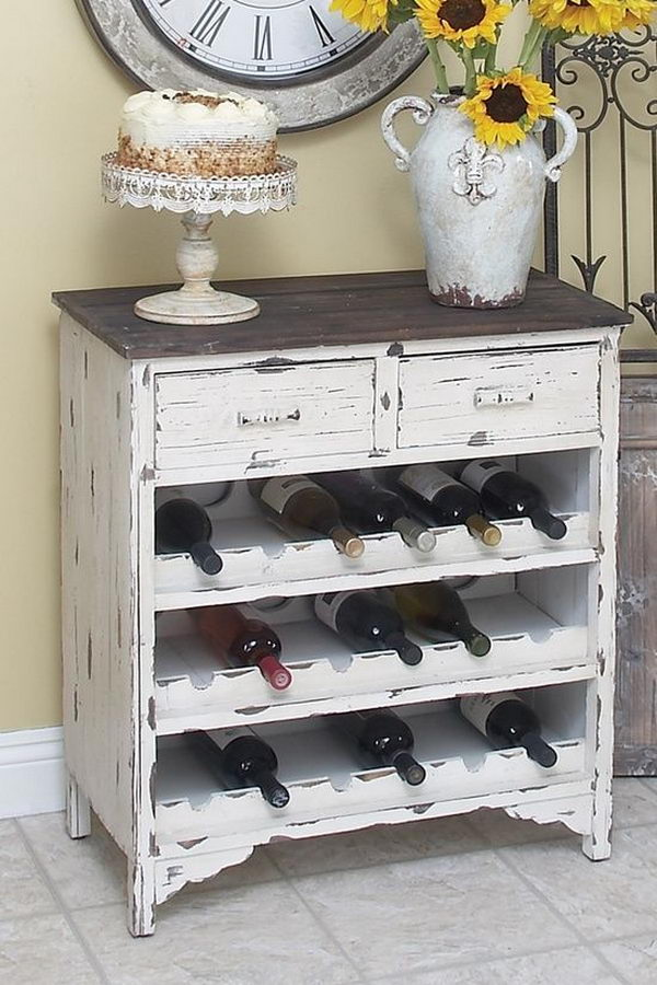 Wine Cabinet From Old Dresser. Really fun to create and have an aesthetic appeal that applies to your unique home.