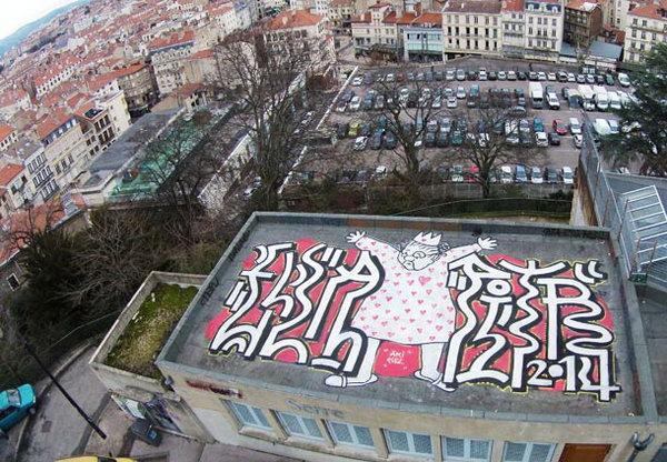 Aerial Street Art On Roof Hative