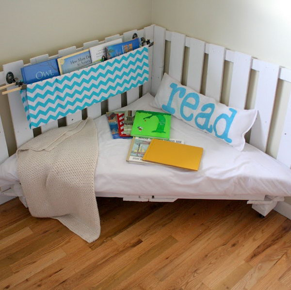 Reading chair from wooden palettes.