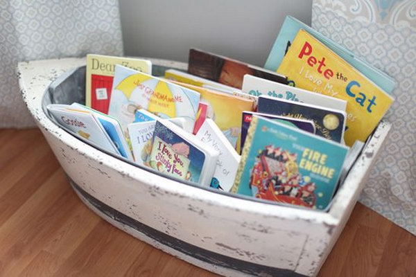 Lovely Boat Bookcase For Nautical Boy Nursery.