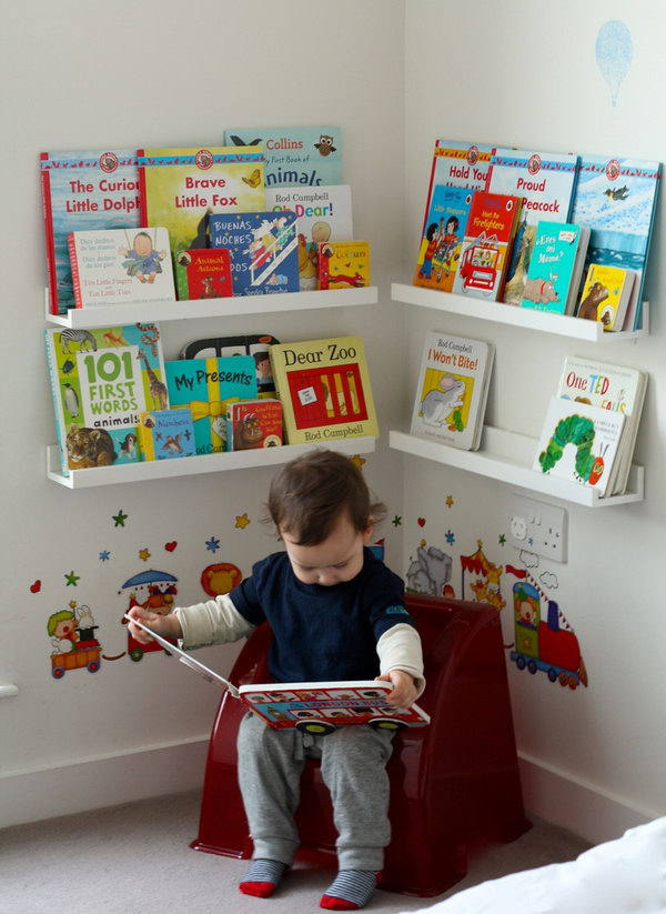 15 creative book storage ideas for kids hative for Kids reading corner ideas