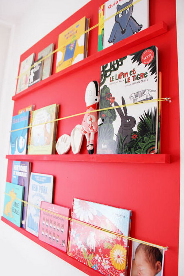 Book shelves with hooks and elastic rope.