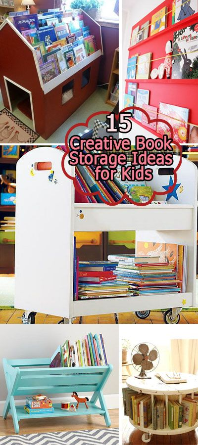 Creative book storage ideas for kids. Declutter the book corner in your kids' rooms.