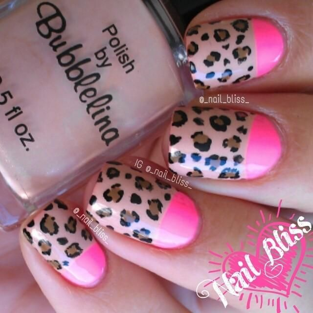 Leopard Half Moon Nail Art. A great way to express your love for wildlife and leopard or cheetah in particular.