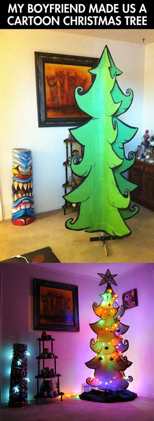 Funny Cardboard Christmas Tree Paper Lights.