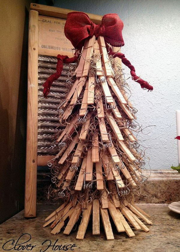 Clothespin christmas tree.