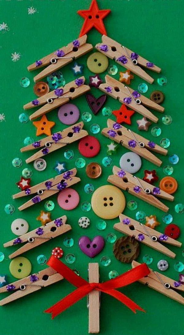 Christmas tree from clothespins and buttons.