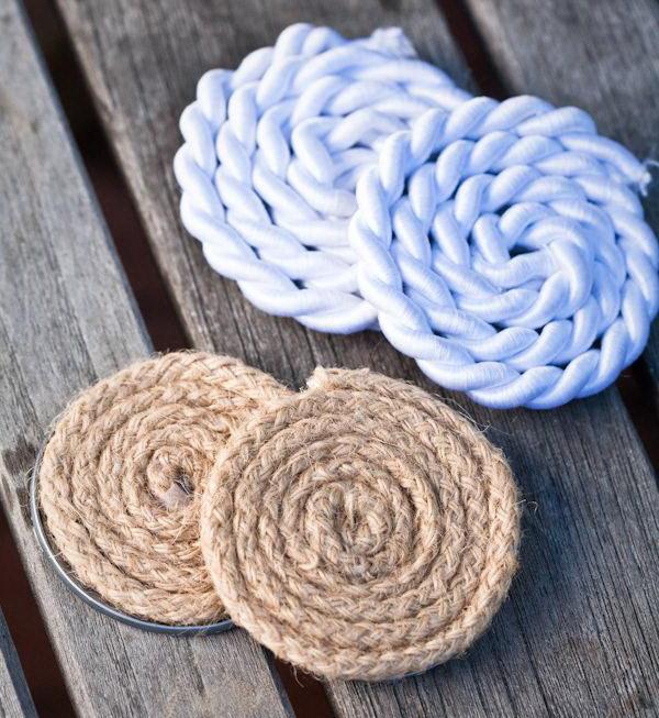 DIY Nautical Rope Coasters.