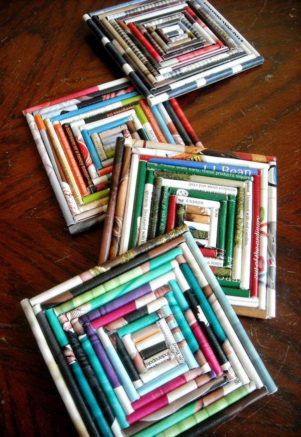 Upcycled Magazine Coasters.