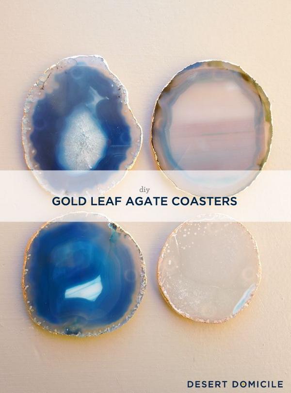 DIY Gold Leaf Agate Coasters.