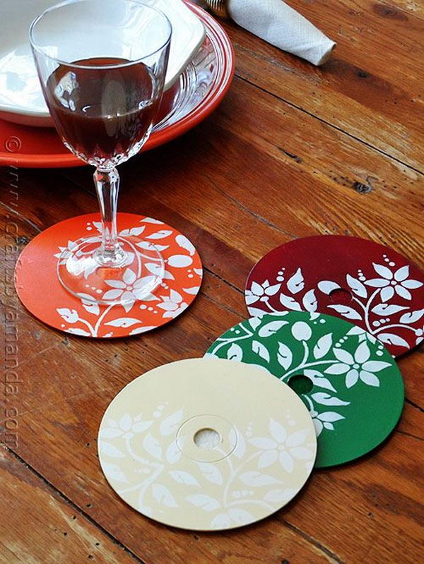 Stenciled DVD Coasters.