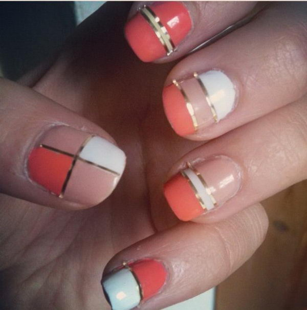 cool color block nail designs