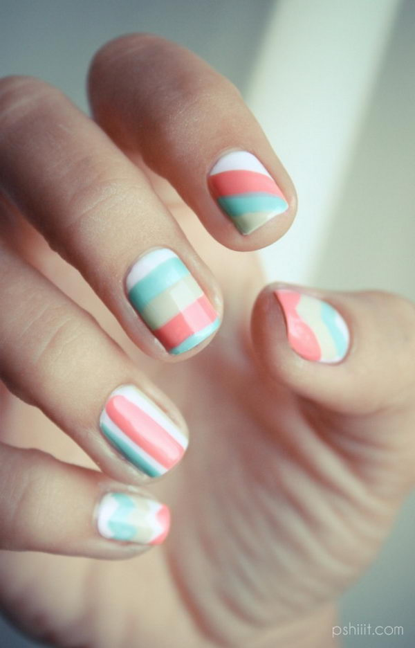Different Nail Shapes: Cool Color Block Nail Designs