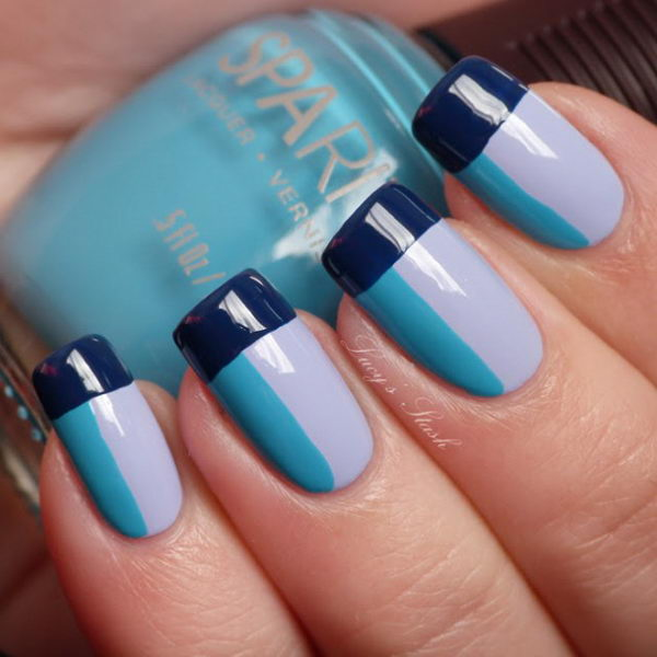 Cool Color Block Nail Art. A funky, modern look which stands out best when you use strong, contrasting colors. It involves painting neat geometric shapes on each fingernail, using different colored polishes.