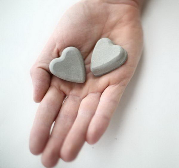 Concrete Hearts. Concrete isn't just for the infrastructure and base of certain buildings. You can use concrete in a variety of DIY projects, and infuse it into everyday products.
