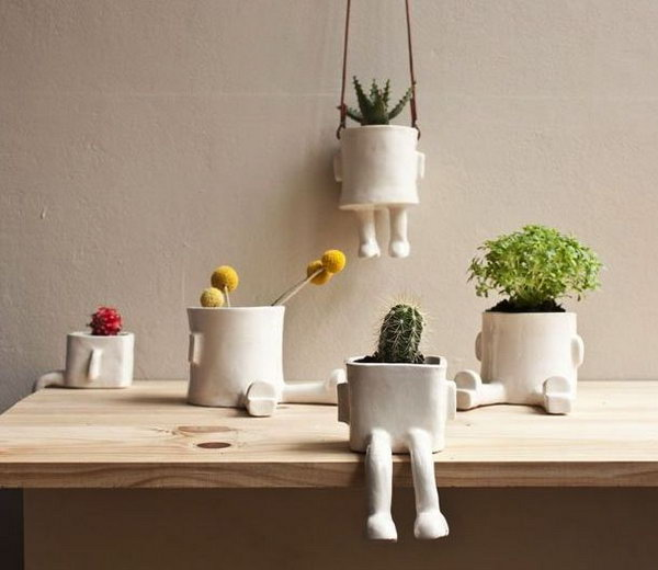 Cute ceramic hanging pot. These container gardening ideas offer a great way to brighten your surroundings immediately. Make your home look different unique and interesting.