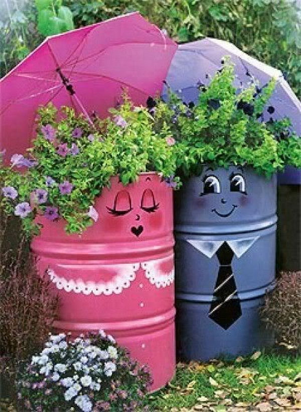 Fun painted gasoline cans gardening. These container gardening ideas offer  a great way to brighten