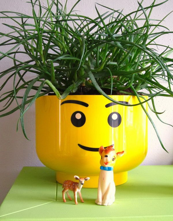 Lego head flowr pot. These container gardening ideas offer a great way to brighten your surroundings immediately. Make your home look different unique and interesting.