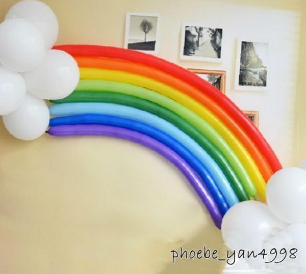 Rainbow Balloon Party Decoration. Rainbow colors are perfect for a festive event, from kids or adult birthdays to anniversaries or graduation.