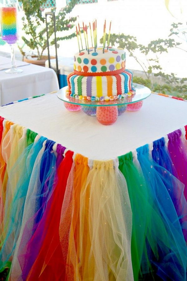 Diy rainbow party decorating ideas for kids hative for Party decorations to make at home