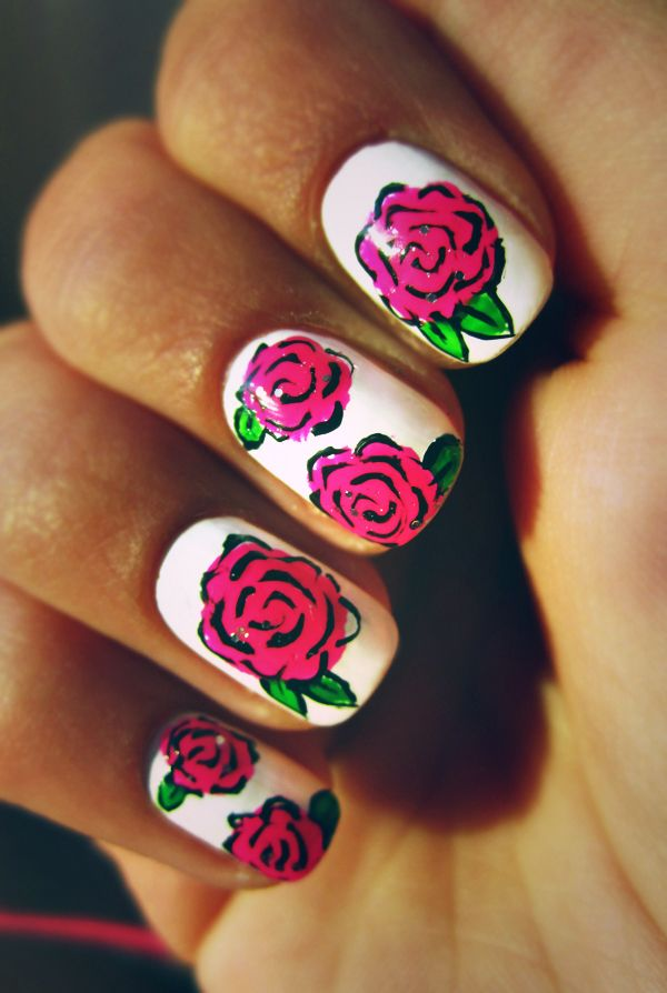 30 Pretty Flower Nail Designs Hative