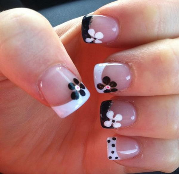 30 pretty flower nail designs hative pretty flower nail art these flower designs are so cute and make a regular manicure prinsesfo Image collections