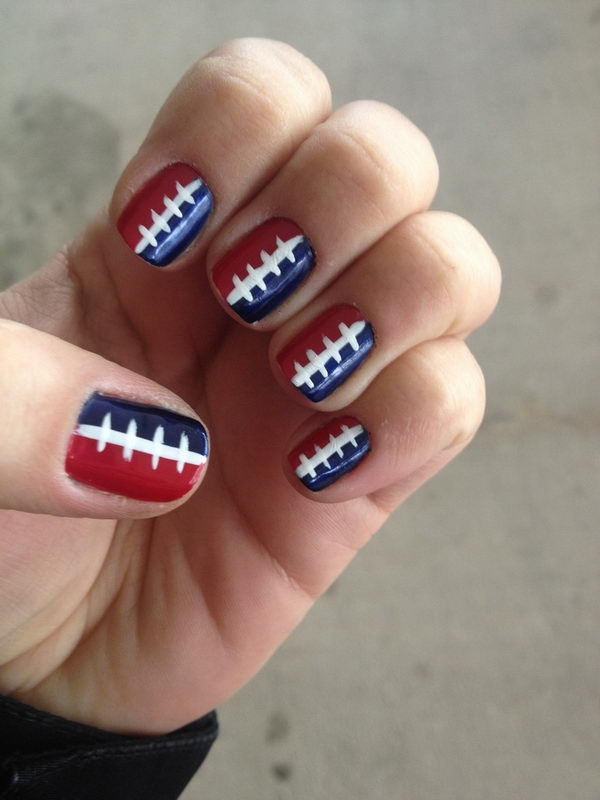 25 cool football nail art designs hative cool football nail art a fun way to support your team and show off your prinsesfo Image collections