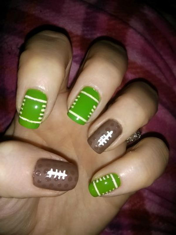 25 Cool Football Nail Art Designs