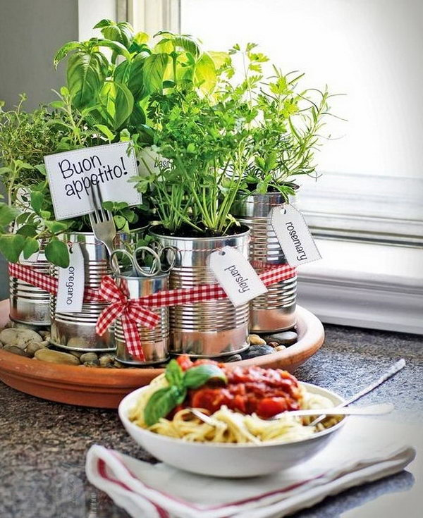 Kitchen countertop herb garden.