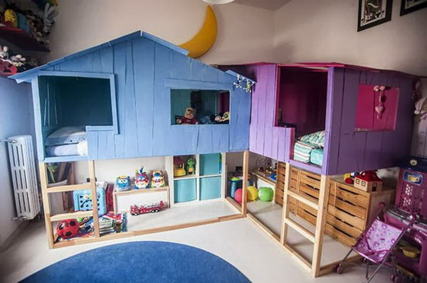 10 cool indoor playhouse ideas for kids hative. Black Bedroom Furniture Sets. Home Design Ideas