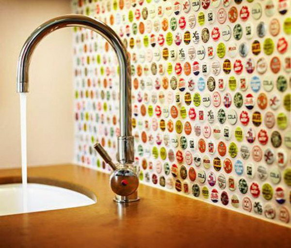 Creative Of Backsplash Ideas Kitchen image of glass backsplash designs for kitchen Creative Kitchen Backsplash Ideas Kitchen Backsplash Bottle Cap Backsplash Not Only Protect The Walls From Staining But Also Add A
