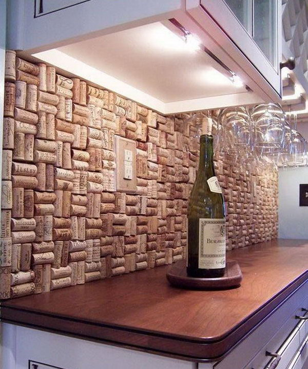 Creative Of Backsplash Ideas Kitchen 10 creative kitchen backsplash ideas Wine Cork Backsplash Not Only Protect The Walls From Staining But Also Add A