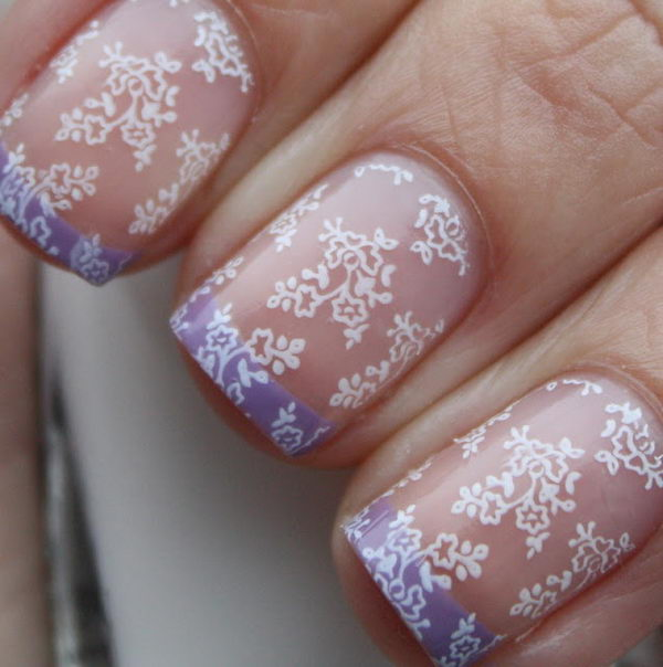 Fashionable Lace Nail Art. Lace patterns are inherently romantic and have a rich history.