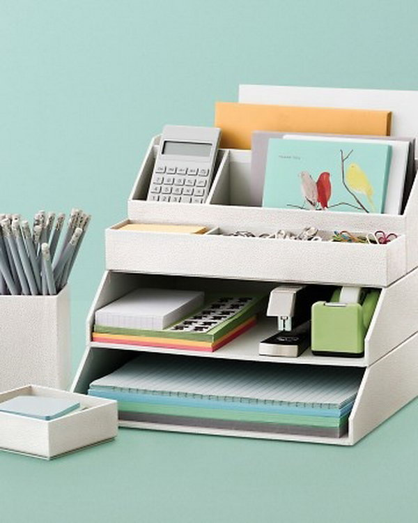 Stackable Desk Accessories. Creatively organized home office boosts your mood and make you more productive.