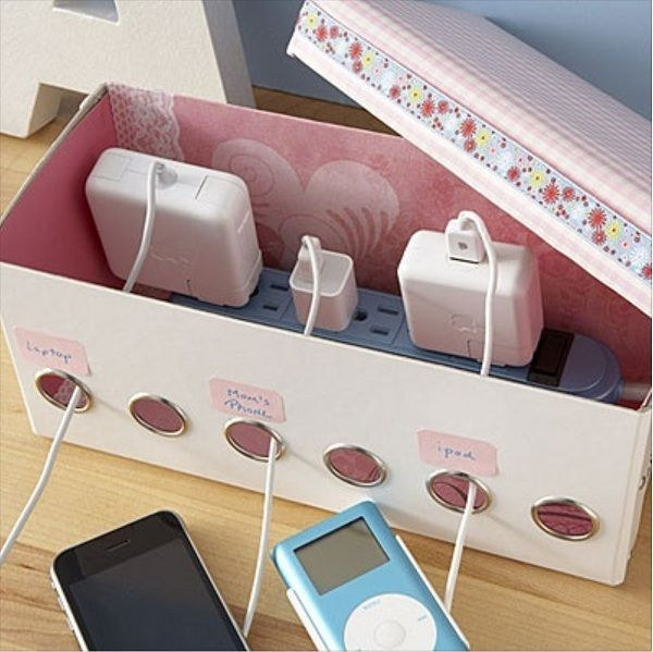 DIY Shoe Box Organizer for Power Strip. Creatively organized home office boosts your mood and make you more productive.