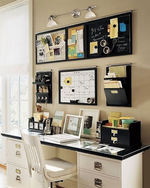 20 creative home office organizing ideas hative. Black Bedroom Furniture Sets. Home Design Ideas