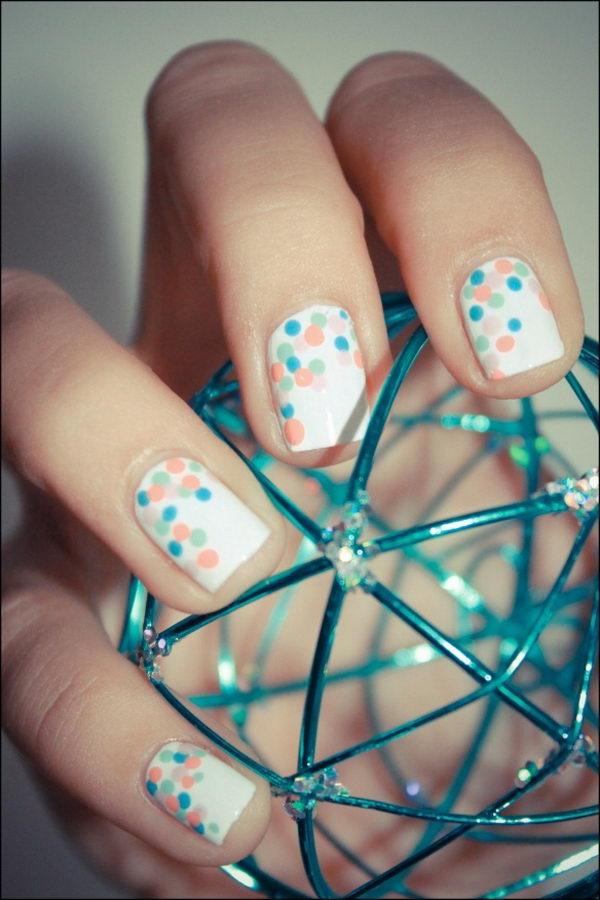 Cute Polka Dot Nail Art. Polka dot is a pattern consisting of an array of filled circles.