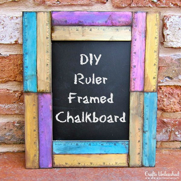 Ruler framed diy chalkboard. Rulers are not only used to measure things but also can be used to create some creative things. Perfect for back to school or teacher gifts.