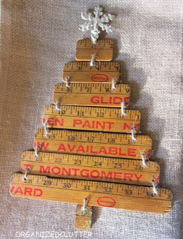 Repurposed yardstick christmas tree. Rulers are not only used to measure things but also can be used to create some creative things. Perfect for back to school or teacher gifts.