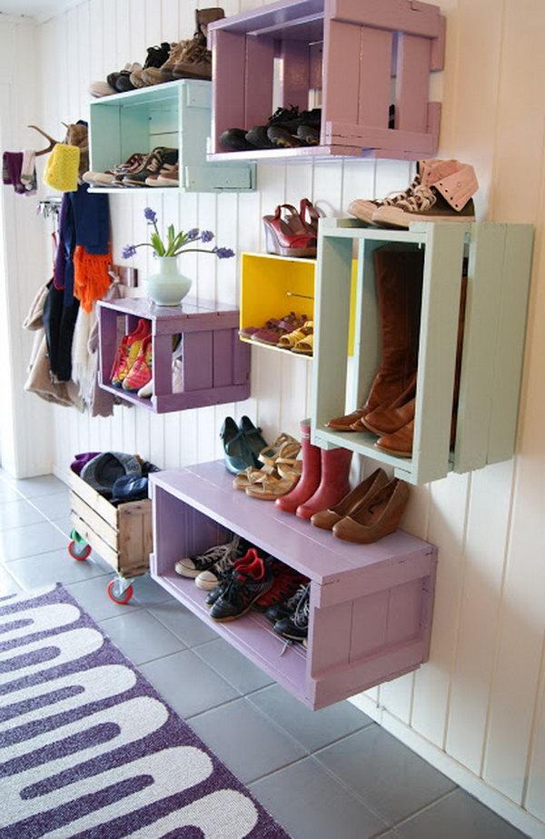 Wine Crates Shoe Racks on Wall,