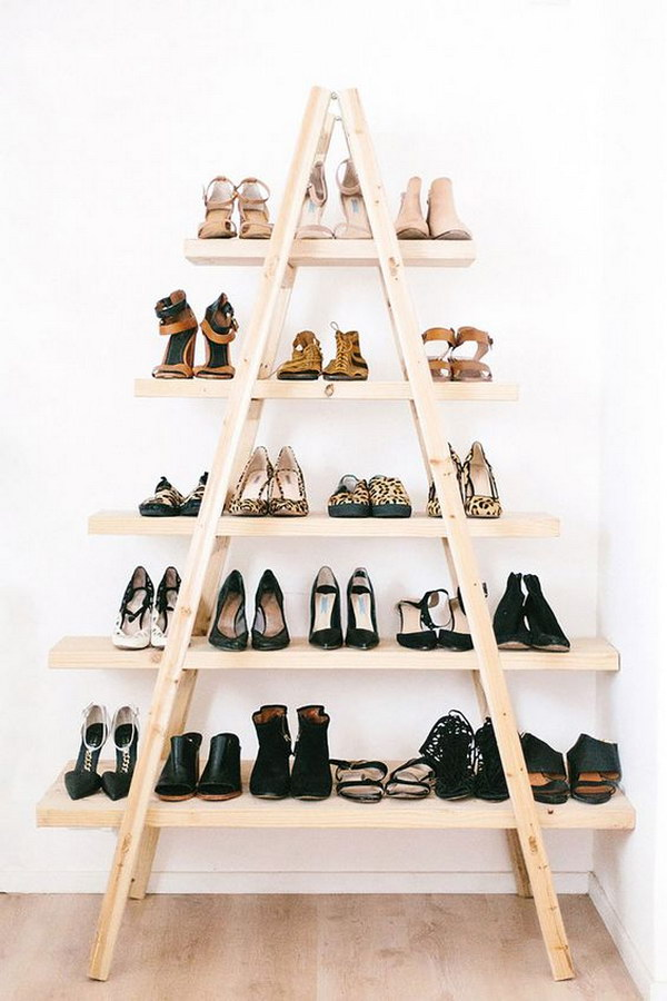 DIY Ladder Shoe Shelf 15 Creative Shoes