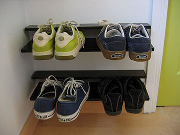 Low Profile Floating Shoe Rack for Storage,