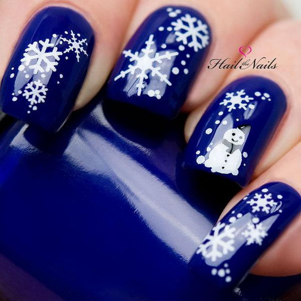 Cool Snowflake Nail Art. As symbols of the winter season, snowflake nail  art are - 20 Cool Snowflake Nail Art Designs - Hative