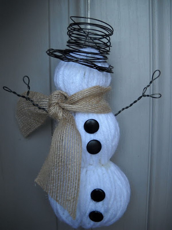 Make a snowman with yarn wrapped foam balls. Add charm to any Christmas tree or gift box, and make charming and thoughtful holiday presents for friends and family members.