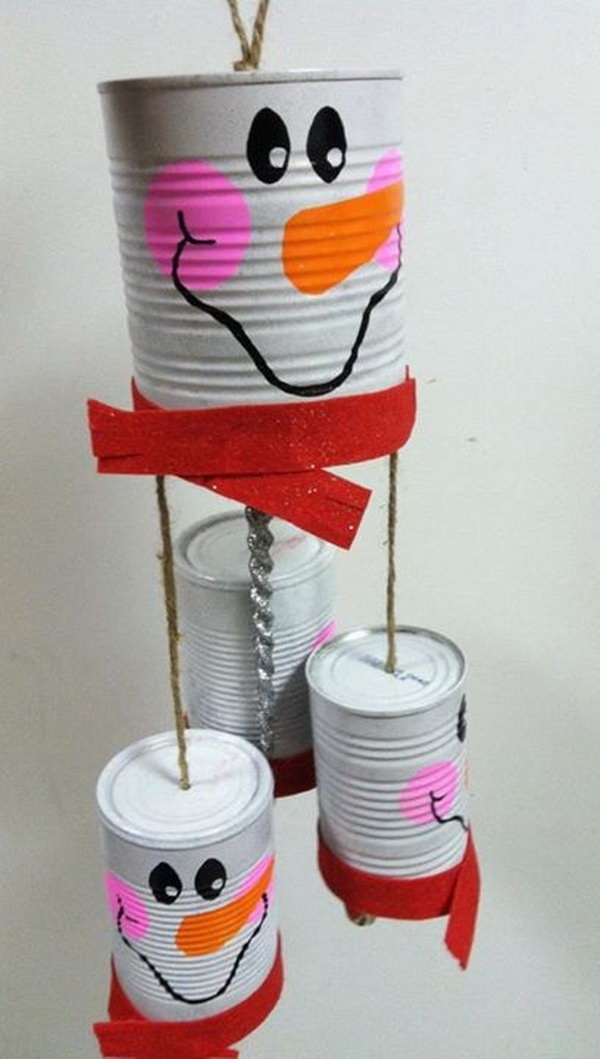 Snowman Windchime Made from Recycled Cans.