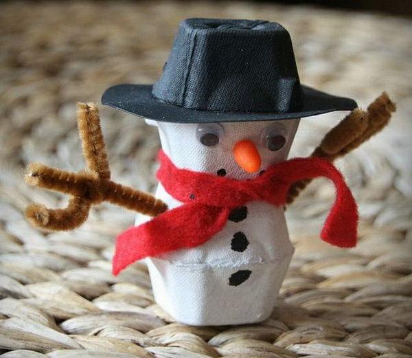 Egg carton snowman.