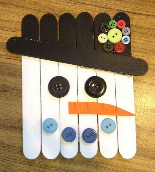 Snowman Made from Sticks and Buttons.