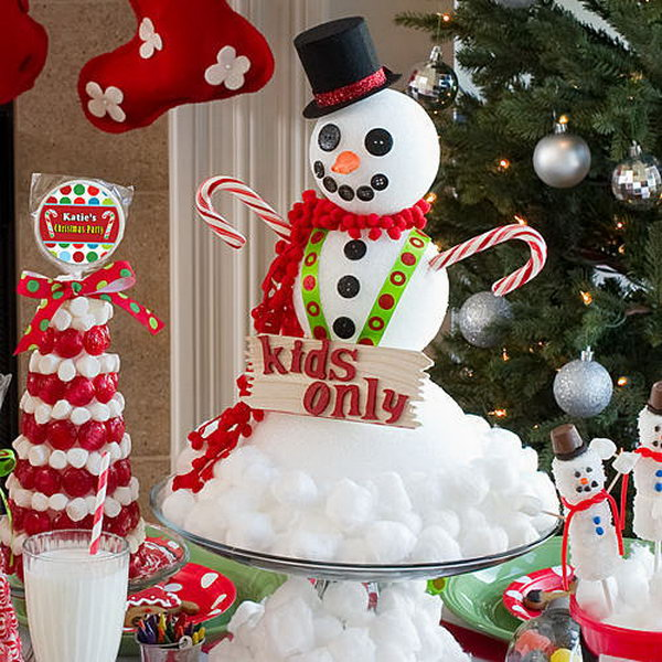 Snowman centerpiece from cotton and styrofoam.
