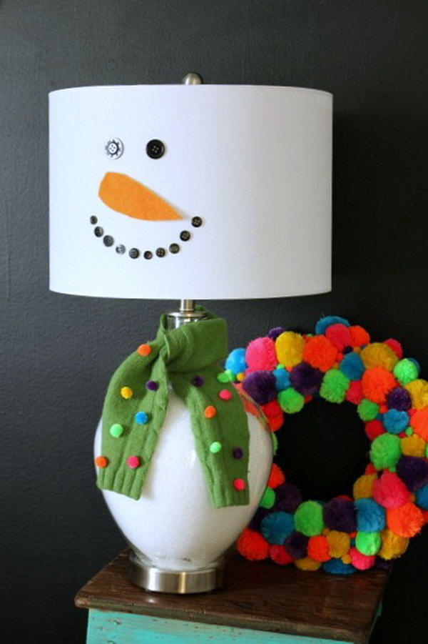 DIY snowman lamp.